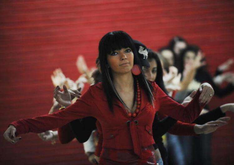 Part of the pre-selection stage of 'Miss Piranda' beauty and belly-dance contest in Bucharest, 28 January 2008. 'Miss Piranda' has become a popular contest especially among gypsy people, promoting their traditional and modern music. (Daniel Mihailescu/AFP/Getty Images)