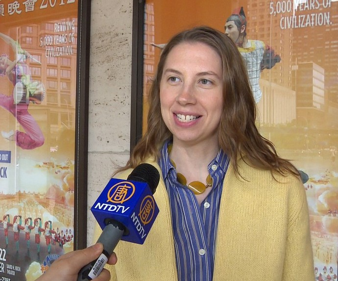Theresa M. Lyons attending Shen Yun Performing Arts at Lincoln Center's David H. Koch Theater on Sunday afternoon. (Courtesy of NTD Television)