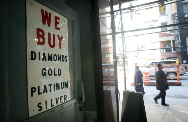 A sign outside a jewelry store in the 'Diamond District' March 6, 2007 in New York City.  (Mario Tama/Getty Images)