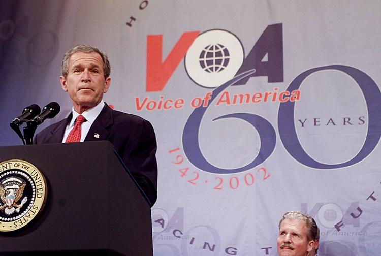 President Bush addresses the audience at the 60th anniversary of Voice of America on February 25, 2002. (AFP/Getty Images)