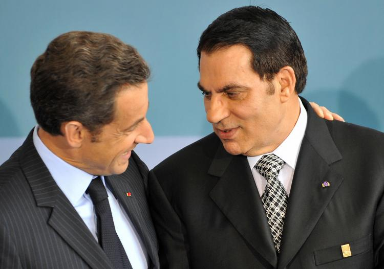 France's President Nicolas Sarkozy (L) welcomes Tunisia's President Zine El Abidine Ben Ali back in July 13, 2008 at the Grand Palais in Paris. (Dominique Faget/Getty Images )