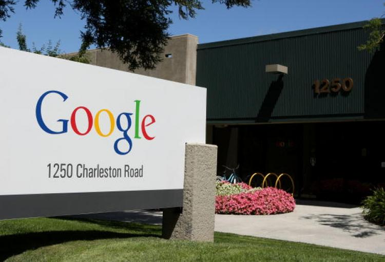 A sign is displayed outside of a Google office July 17, in Mountain View, California.  (Justin Sullivan/Getty Images)