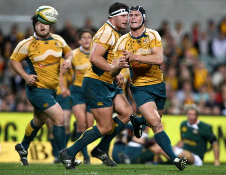 As good as any�the Wallabies� Berrick Barnes during Australia�s Tri Nation�s victory over South Africa�s Springboks in Perth last weekend. (Paul Kane/Getty Images)