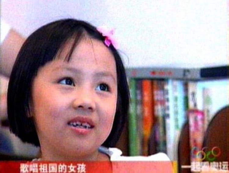 This image received on August 12, 2008, taken from television on August 11 shows seven-year-old Yang Peiyi during an interview in Beijing. (AFP/AFP/Getty Image)