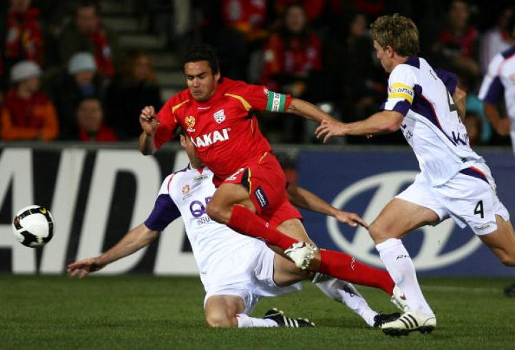 Captain Travis Dodd scored the winning goal against Perth Glory in his 100th appearance for Adelaide United. (Simon Cross/Getty Images)