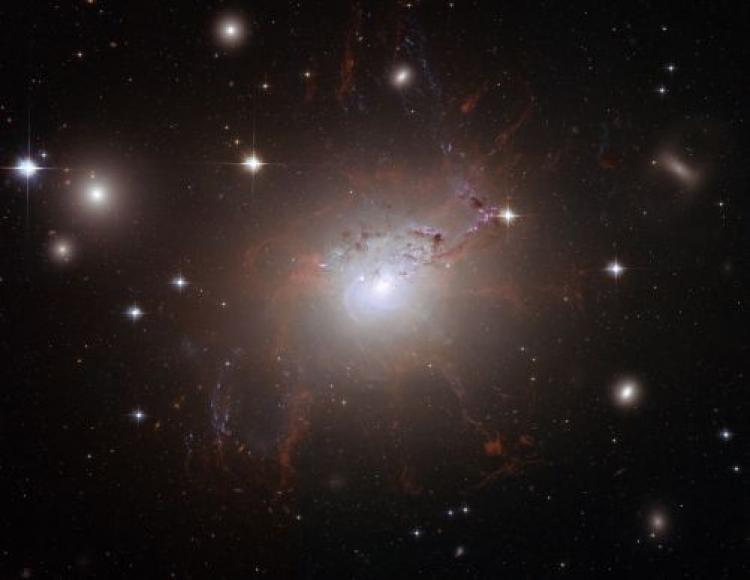 This handout image of the giant, active galaxy NGC 1275, obtained August 21, 2008 was taken using the NASA/ESA Hubble Space Telescopes Advanced Camera for Surveys in July and August 2006. (NASA/ESA via Getty Images)