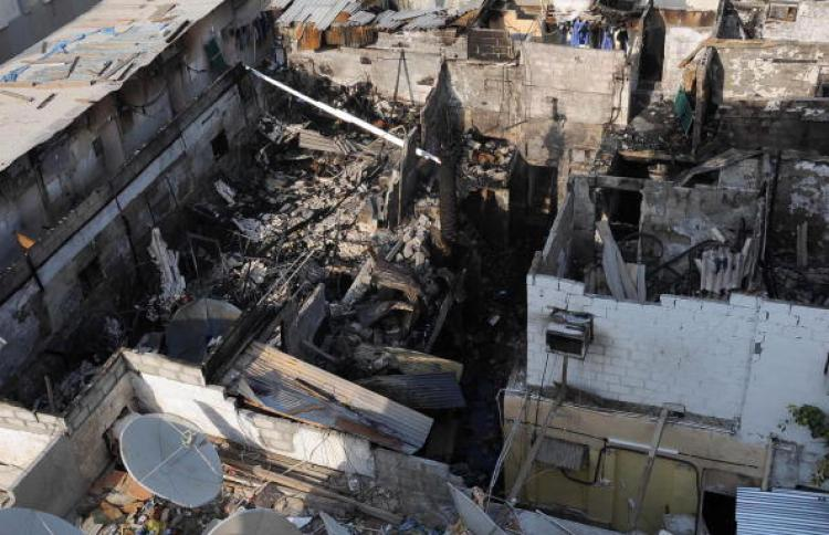 A picture shows damage caused by a fire that broke out in a hostel in the Naif old quarter of the Gulf emirate of Dubai on August 27, 2008. (-/AFP/Getty Images)