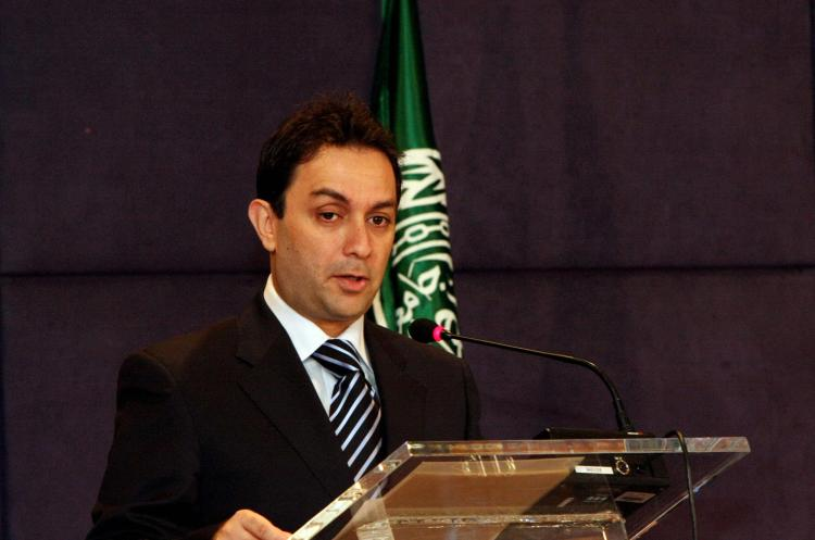 Lebanese Minister of Interior Ziad Baroud giving a speech at a hotel in October, 2008. (Fadi Abou Ghalyoum/AFP/Getty Images)