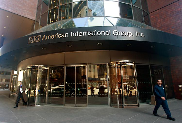 ON THE MEND: American International Group (AIG) offices are seen in New York City in this file photo from 2009. AIG, once considered too large to fail, is trying to get back on its feet. (Photo by Mario Tama/Getty Images)