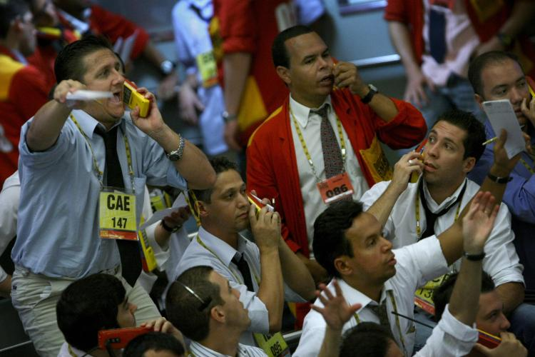 Stock traders in the iBovespa future index pit at the Mercantile and Futures Exchange (BM&F), in Sao Paulo, Brazil. (Mauricio Lima/AFP/Getty Images)