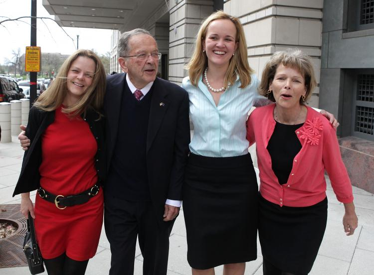 Former U.S. Sen. Ted Stevens (R-AK) (2nd-L) walks with his daughters Beth (L), Lily (2nd-R) and Susan (R) as they leave the the Federal Courthouse, April 7, 2009 in Washington, DC. (Mark Wilson/Getty Images)