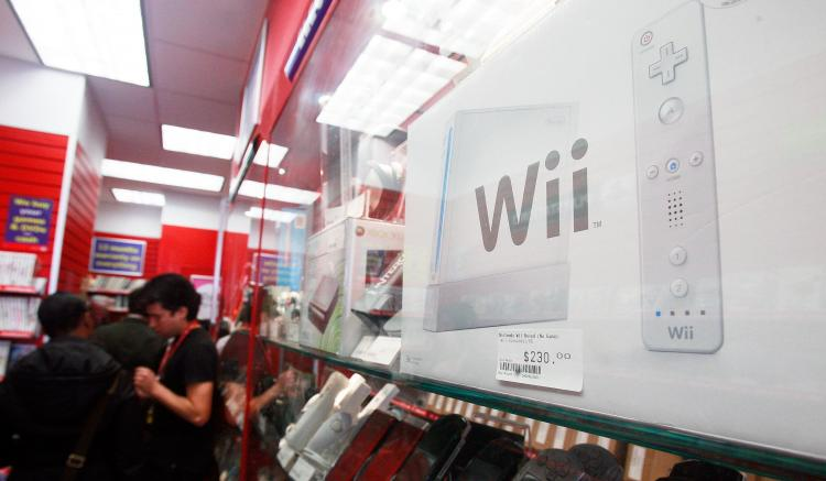 A Wii is seen with other video games for sale in a CeX store April 17, 2009 in New York City. (Mario Tama/Getty Images)