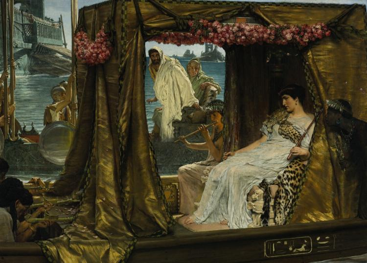 VICTORIAN MASTER: 'The Meeting of Antony and Cleopatra, 41 B. C.' by Sir Lawrence Alma-Tadema. (Courtesy of Sothebys)