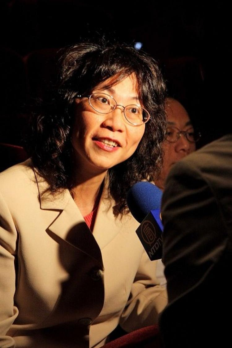 Ms. Wang Ju-Hsuan, Minister of the Council of Labor Affairs at the intermission of Divine Performing Arts in Taipei. (Lin Shijie/The Epoch Times)