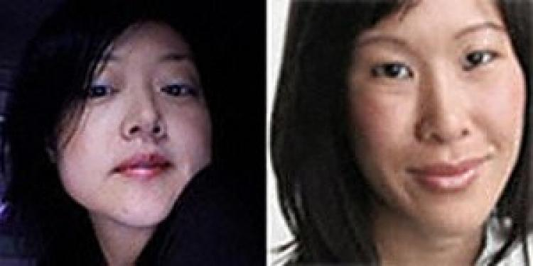 Two Current TV reporters, Euna Lee (L) and Laura Ling (R) were detained by North Korean soldiers when conducting an interview near the Tumen River in China.  (YONHAP/AFP/Getty Images)
