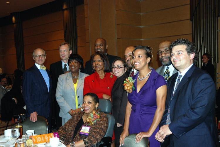 Philadelphia Museum of Art's Cheryl McClenney-Brooker (front seated), wins honor of Share the Heritage Award. Philadelphia City councilwoman Brown (third from left in foreground), Philadelphia Multicultural Affairs Congress's executive director Tanya E. H (Lily Sun)