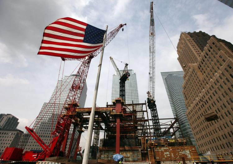 An American flag flies in front of the construction site of One World Trade Center, previously called the Freedom Tower, at the former World Trade Center site on Sept. 8 in New York City. Eight years after the 9/11 terror attacks on the World Trade Center (Rick Gershon/Getty Images)