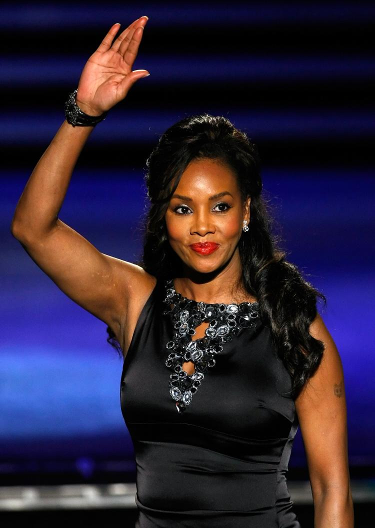 Vivica A. Fox waves as she is introduced as a judge before a preliminary competition for the 2010 Miss America Pageant at the Planet Hollywood Resort & Casino January 27, 2010 in Las Vegas, Nevada. (Ethan Miller/Getty Images)