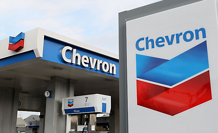 The Chevron logo is displayed at a Chevron gas station