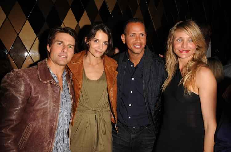 Tom Cruise, Katie Holmes, MLB Player Alex Rodriguez and Cameron Diaz attend the Super Bowl Party on Feb. 6 in Miami Beach, Florida. (George Pimentel/Getty Images for Creative Artists Agency)