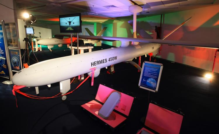 EYE IN THE SKY: An Israeli Hermes 450W drone by Elbit Systems is displayed during a presentation to the media of products manufactured by the international defense electronics company in Haifa on Febr. 25, 2010.   (Jack Guez/Getty Images)