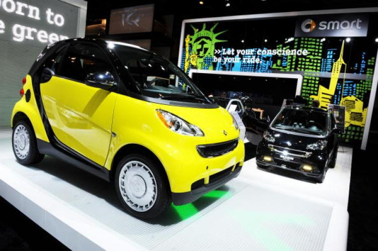 A Smart ForTwo vehicles on display at the New York International Auto Show April 1, 2010 in New York.  (Stan Honda/Getty Images)
