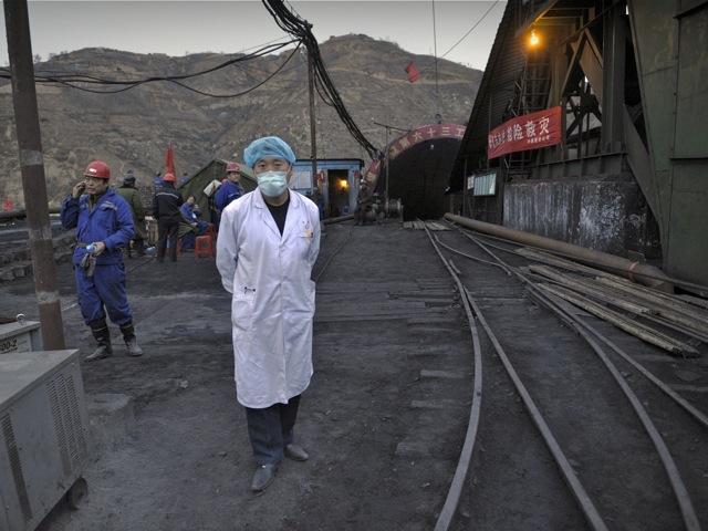 outside the entrance to the Wangjialing coal mine