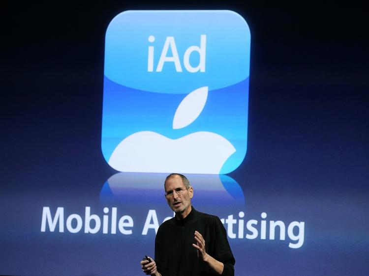 Apple CEO Steve Jobs announces iAd, part of the new iPhone OS4 software, during an Apple special event April 8, 2010 in Cupertino, California.  (Justin Sullivan/Getty Images)