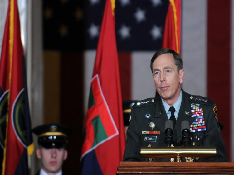 Gen. David Petraeus, commander of U.S. Central Command, leads the Holocaust Day of Remembrance Ceremony inside the Rotunda of the U.S. Capitol on April 15, 2010, in Washington. (Astrid Riecken/Getty Images)