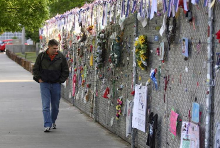 Dedications are hung to the victims of the Murrah Building bombing during the 15th anniversary observance ceremony of the Murrah Building bombing.  (Brett Deering/Getty Images)