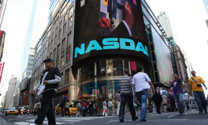 The Nasdaq building in Times Square, New York City. (Daniel Barry/Getty Images )