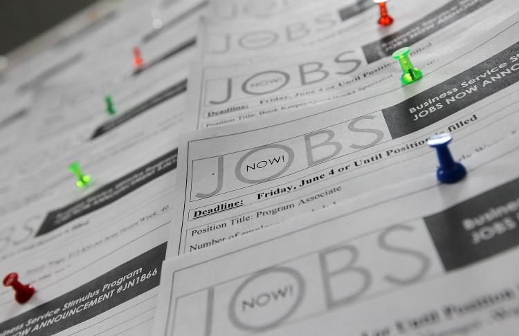 Job listings are posted on a bulletin board at the Career Link Center One Stop job center in SF California. US Economy Adds Jobs, While Unemployment Rate Rises To 9.9 Percent. (.Justin Sullivan/Getty Images)