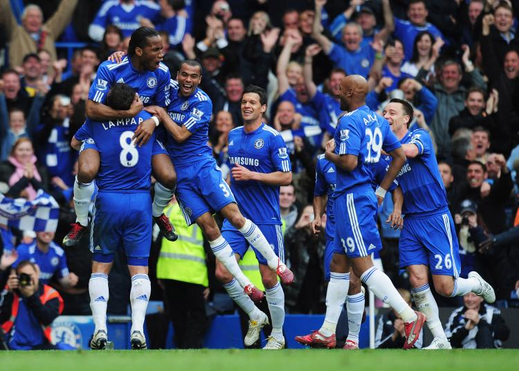 PREMIERSHIP CHAMPIONS: Didier Drogba of Chelsea celebrates with team mates as he scores their fifth goal (Shaun Botterill/Getty Images)