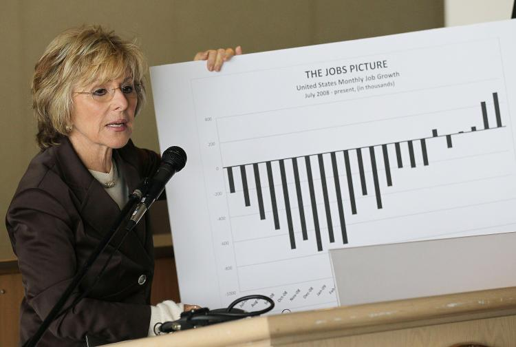 Sen. Barbara Boxer holds a chart showing the recent job growth in the U.S. as she speaks during a news conference about the Wall Street reform legislation.  (Justin Sullivan/Getty Images)