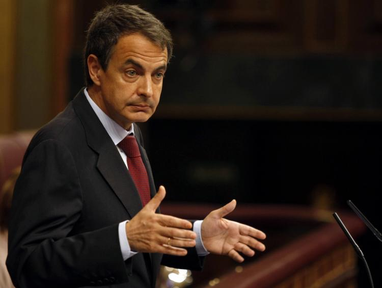 Spain's President Jose Luis Rodriguez Zapatero gives a speech at the Parliament in Madrid on May 12, 2010.  (STR/AFP/Getty Images)