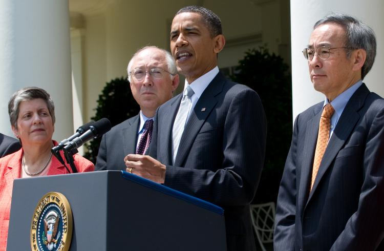 President Barack Obama speaks alongside members of his administration, including Secretary of Homeland Security Janet Napolitano (L), Interior Secretary Ken Salazar (2nd L) and Energy Secretary Steven Chu (R), in Washington, DC, May 14, after a meeting to (Saul Loeb/Getty Images)