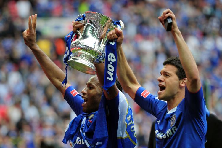 WEMBLEY: Didier Drogba and Michael Ballack of Chelsea celebrate winning the FA Cup (Shaun Botterill/Getty Images)