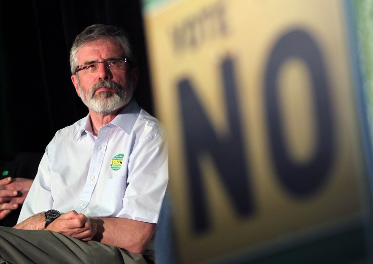 Sinn Fein President Gerry Adams pictured during a rally for a 'No' vote in Dublin on May 28th, 2012. Ireland goes to the polls on Thursday to vote on the European fiscal treaty referendum