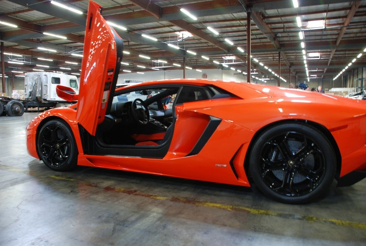 This Lamborghini along with twenty stolen luxury vehicles were recovered from warehouses while awaiting export to Asian countries recently. (Robin Kemker/The Epoch Times)