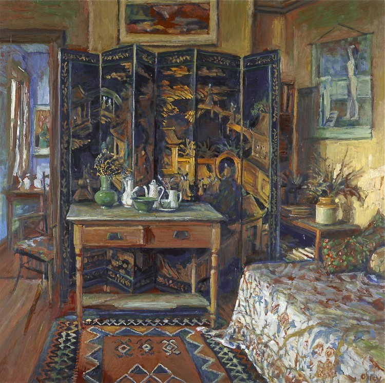 Margaret Olley's 'Chinese screen and yellow room,' 1996, oil on hardboard, 75 x 75cm. Purchased 1996. (Art Gallery of New South Wales)