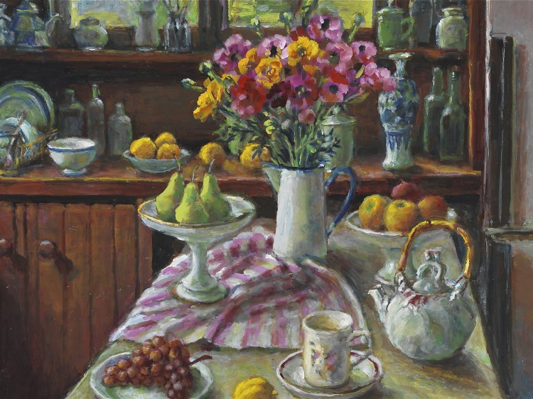 Margaret Olley's 'Ranunculus and pears,' 2004, oil on hardboard, 76 by 101cm. (Art Gallery of New South Wales)