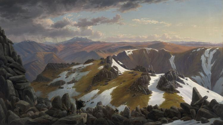 North-east view from the northern top of Mount Kosciusko 1863 by Eugene von Guerard. Oil on canvas, 66.5 x 116.8cm, National Gallery of Australia, Canberra, was purchased 1973. (Courtesy of National Gallery of Victoria)