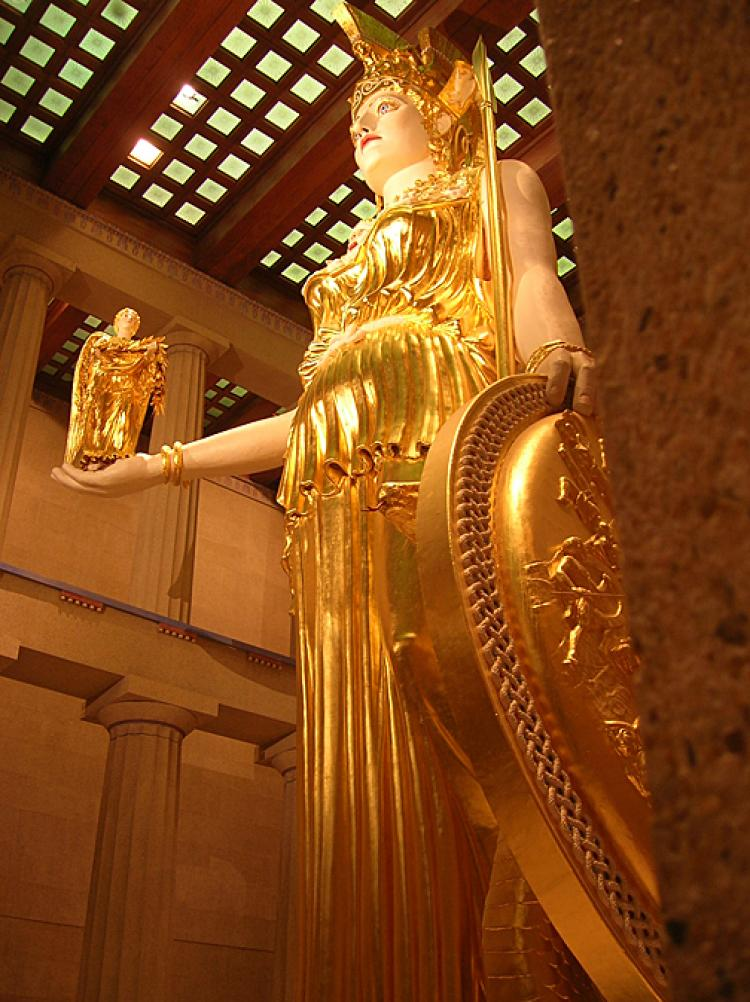 PERFECTION: A reconstruction of the chryselephantine statue of Athena Parthenos from the Parthenon, stands on display in the Parthenon replica at Nashville, Tennessee.  (Photo courtesy of Paul Lithgow)