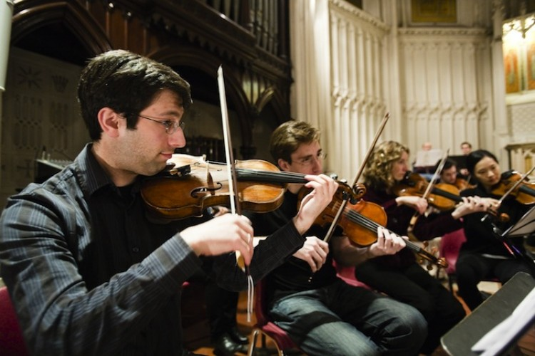 BAROQUE MUSIC: The string section of Big Apple Baroque is seen performing on Tuesday. (Courtesy of Big Apple Baroque)