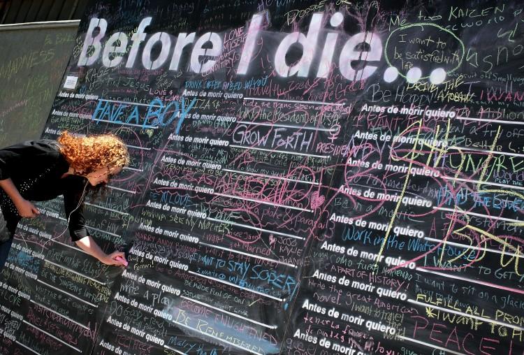 Public Chalkboard Art Installation Encourages People To Write Bucket List Entries