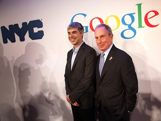 Mayor Michael Bloomberg poses with Google Inc. CEO Larry Page