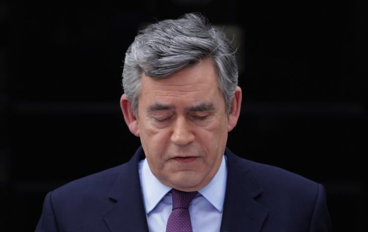 Prime Minister Gordon Brown speaks about the current state of government and announces that he will step down as Labor Party's leader on May 10 in London, England.  (Matt Cardy/Getty Images)