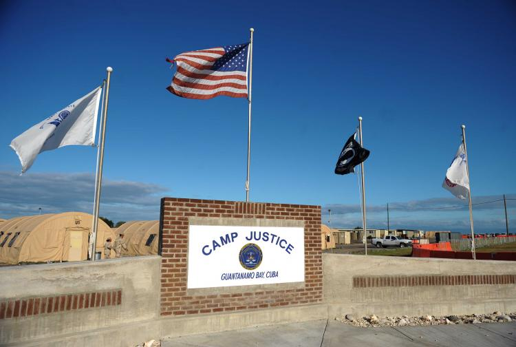 CAMP JUSTICE: An image reviewed by the US military shows a 'Camp Justice' sign near the high-tech, high-security courtroom which will hold the pre-trial sessions for Khalid Sheikh Mohammed and his four co-defendants on charges related to the 9/11 attacks  (Mandel Ngan-Pool/Getty Images)