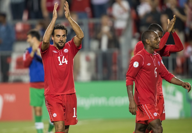 Dwayne De Rosario and the Canadian men's national soccer team celebrated their win over Panama last Friday in Toronto. It was a different story Tuesday in Panama. (Geoff Robins/AFP/Getty Images)