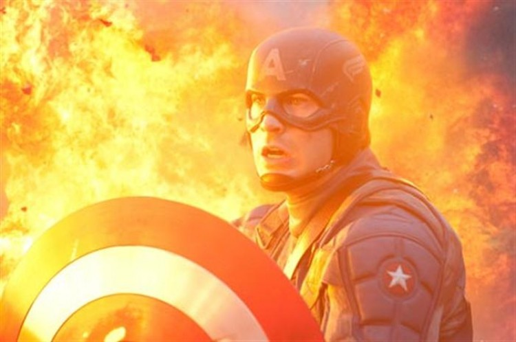 CAPTAIN'S INFERNO: Chis Evans plays Captain America in the action-adventure movie 'Captain America: The First Avenger.' (Courtesy of Jay Maidment / Marvel Studios)